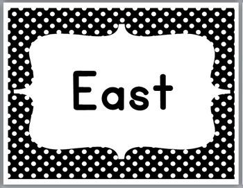 Cardinal Directions Signs - Polka Dot Classroom Decor