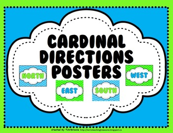 Cardinal Directions Posters - Chevron Pattern
