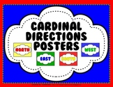 Cardinal Directions Posters - Primary Colors