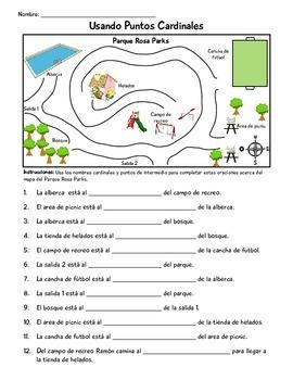 Cardinal Directions/ Puntos Cardinales Task Cards and Worksheets - Spanish