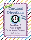 Cardinal Directions/ Puntos Cardinales Task Cards and Worksheets - Spanish