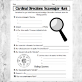Cardinal Directions Scavenger Hunt/ North South East West/