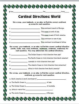 Cardinal Directions Worksheets by Holly Roberts | TpT