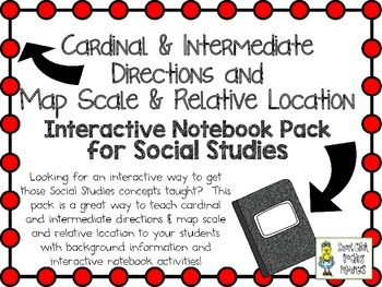 Cardinal & Intermediate Directions,  Map Scale ~ Interactive Notebook Pack
