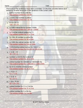 Cardinal-Ordinal Numbers Scramble Worksheet