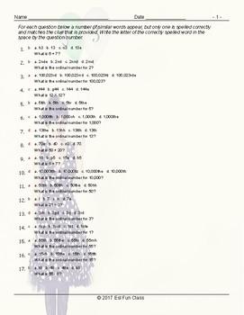 Cardinal-Ordinal Numbers Spelling Challenge Worksheet