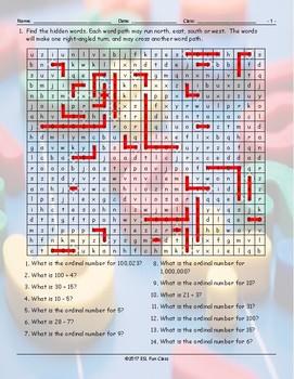 Cardinal-Ordinal Numbers Word Angles