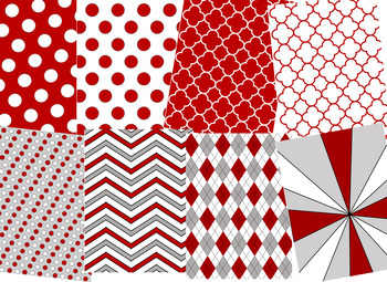 Cardinal Red & White Digital Papers (Arkansas Team Colors)