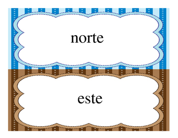 Cardinal and Intermediate Directions in Spanish. FREEBIE!