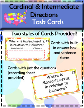 Cardinal and Intermediate Directions task cards for Elementary, United States