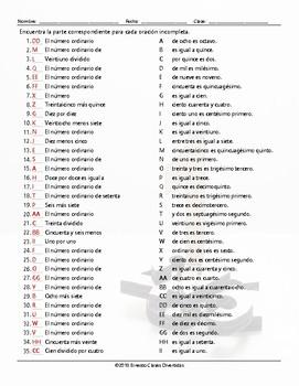 Cardinal and Ordinal Numbers Sentence Match Spanish Worksheet