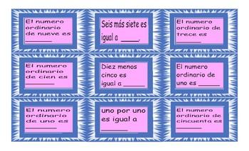 Cardinal and Ordinal Numbers Spanish Card Game