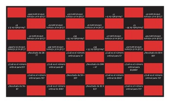 Cardinal and Ordinal Numbers Spanish Checkers Game
