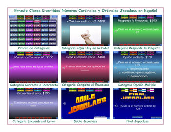 Cardinal and Ordinal Numbers Spanish Jeopardy Game