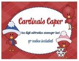 Cardinals Caper Two Digit Subtraction Scavenger Hunt ~ with Bonus QR Code Cards