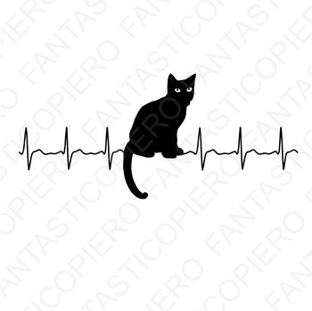 Cardio Cat SVG files for Silhouette Cameo and Cricut.