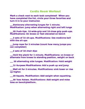 Cardio Room Workout