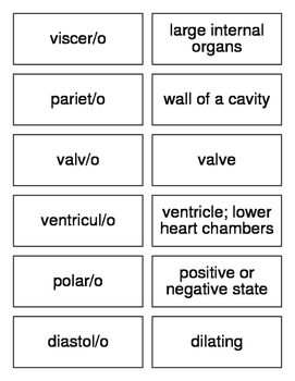Cardiology Combining Forms Flash Cards