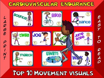 Cardiovascular Endurance- Top 10 Movement Visuals- Simple Large Print Design