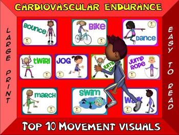 Cardiovascular Endurance- Top 10 Movement Visuals- Simple Large Print Design