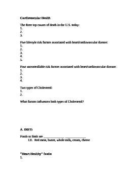 Cardiovascular Fill in Worksheet