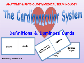 Cardiovascular System Dominoes Card Game: Anatomy and Medical Terminology