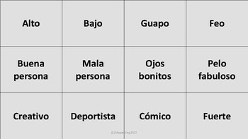 Cards Against Descripciones: Game to review Spanish Descriptive Adjectives