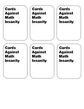 Cards Against Math Insanity - Linear Functions Edition