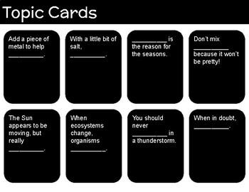 Cards Against SCIENCE! - Editable Slides