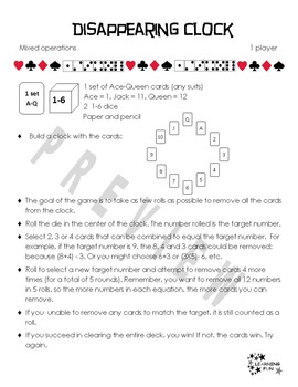 Cards, Counters & Dice for 1 - Early finishers, centers, free play