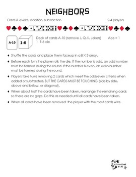 Cards. Dice, Odds & Evens