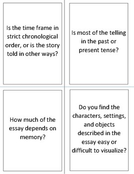 Cards for Teaching How to Read and Write Personal Essays