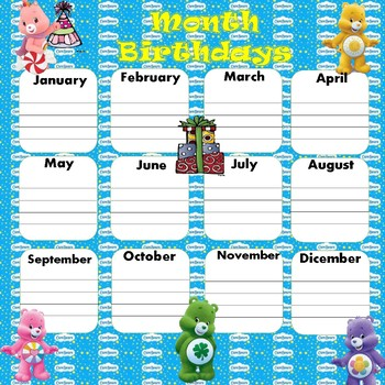 Care Bears Month Birthdays Poster 17x17 English & Spanish version