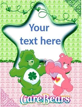 Care Bears Binder Covers Editable!!!