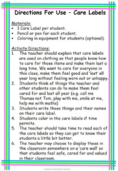 Care Labels Back to School or End of Year Fun, Printable Worksheet