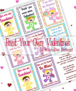 Care a Lot Kids Printable Childrens Valentine Cards d1