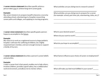 Career Activity for Mission, Vision, & Values Statements Folded Paper Project