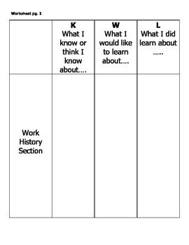 Career Application Unit Plan - Work History Section