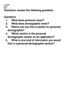 Career Application Worksheets