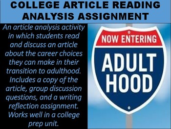 Career Article Reading Analysis Assignment