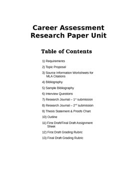 Career Assessment Research Paper Unit
