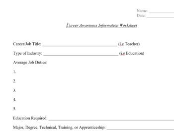 Career Awareness Worksheet for Student IEP goals, IEP Assessment