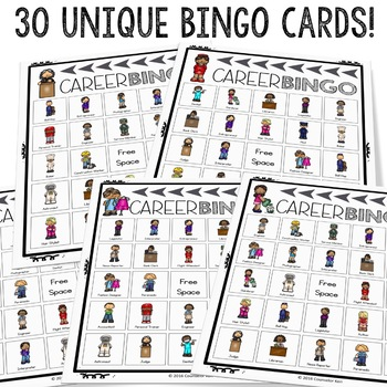 Career Bingo 2 - 24 More Community Helpers for Fun Elementary Career Education