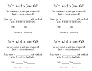 Career Cafe Printable Passes