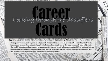 Career Cards-.Applied math problems for early finishers or bell ringers.