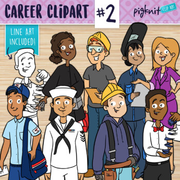 Career Characters Clipart | Cosmetologist, Electrician, Boilermaker, Sailor