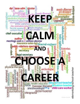 Career Cluster Lesson Poster - Keep Calm and Choose a Career