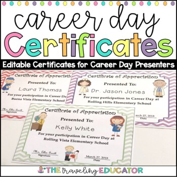 Career day awardscertificates editable by the traveling educator career day awardscertificates editable yadclub Image collections
