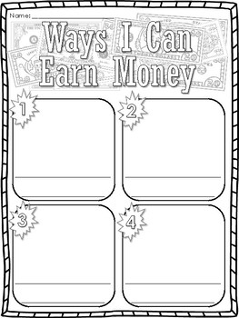 Career Day Earning Money Writing Prompts Worksheets
