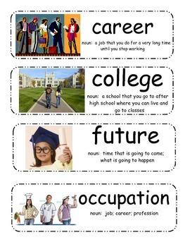 Career Day Vocabulary Cards